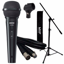 Combo Micrófono Shure Sv200 Pie Soporte Cable Pipeta Vocal