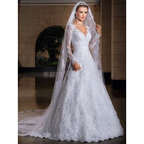 Vestido De Noiva Romântico Com Veú - Pronta Entrega