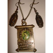 Collar Y Aretes Vintage Virgen De Guadalupe Basílica $70