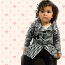 Casaquinho Sobretudo Infantil Xadrez Preto E Branco P/ Bebê