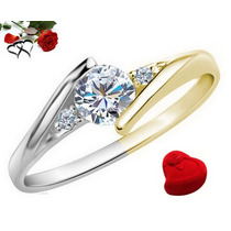 Anillo Compromiso A Dos Oros 10k Blanco Y Amarillo, Diamante