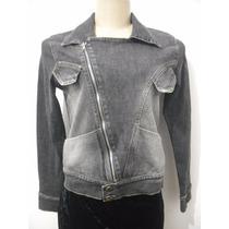 Casaco Jaqueta Jeans Perfecto Moto Preta Tam M Bom Estado
