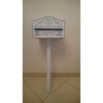 Caixa De Correio Mod Americana Alumínio Branca Pedestal 1,3m