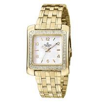 Relógio Champion Feminino Dourado Quadrado Cn28606h