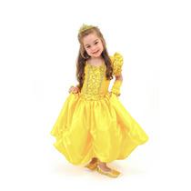 Fantasia Infantil Princesa Bela Fera Luxo Longa Com Luvas