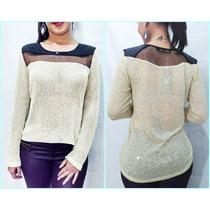 Roupas Femininas Blusa Renda Tule Tricot Crochet Importada