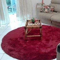 Tapete Bordo Muito Peludo Redondo 4cm Sala Shaggy Luxo 1,90m