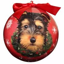 Esfera Navideña Esmaltada Yorkie Pup - Hermosa!