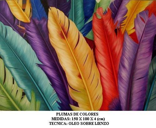 Plumas De Colores, Cuadro Al Oleo Sobre Lienzo, Ferbel Art ...