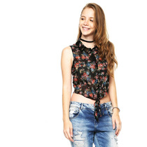 Pink Connection - Blusa Negra Camisera Estampada - Negro