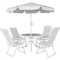Conjunto 4 Cadeiras Alumínio Mesa Ombrelone Branco Bel 83000