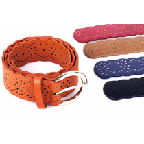 Cinturón Cuero Sintético Calado Colores Mujer.