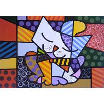 Quadro O Gato - Romero Brito - Pintado À Mão 1,00x1,00 Mts