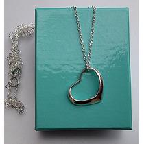 Cadena Y Dije Corazón Tiffany Style Plata Ley