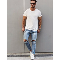 Calça Jeans Masculina Sarja Skinny Rasgada Ótima Qualidade