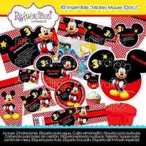 Kit Imprimible Mickey Mouse Cumpleaños Invitacion Tarjetas