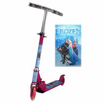 Patinete Infantil Menina 2 Rodas Gel Freio Frozen Brinquedo