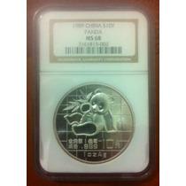 Moneda 1989 Panda 10 Yuan China Cert Ngc Ms68 999 Plata Pura