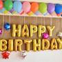 Combo De 13 Letras Globo Metalizado Happy Birthday