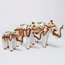 Elefante Madera Antik Set X3 Indonesia Oriental Hindú