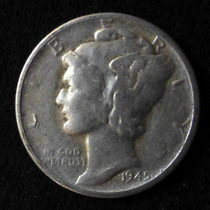 Moneda De Plata. 1 Dime 1945 D. Usa. Mercury. Cabeza Alada.