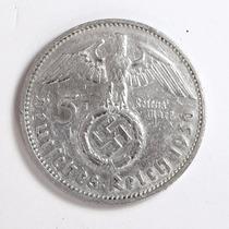 Rara Moeda Prata Alemanha Hindenburg Segunda Guerra 5 Marcos