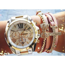 Relógio Michael Kors Mk5627 Prata Dourado Completo