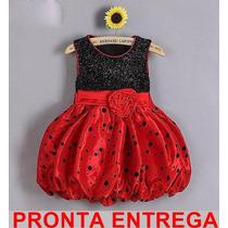 Vestido Infantil Flor Princesa Festa Moranguinho Pronta Entr