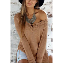 Blusa Tricot ( Tricô ) Feminina Cordão Promoção De Inverno