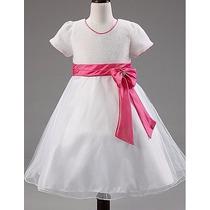 Hermoso Vestido Blanco Organza Para Presentación Ceremonia
