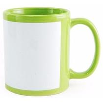 6 Unidades Caneca Ceramica Verde Com Tarja Branca Sublimação