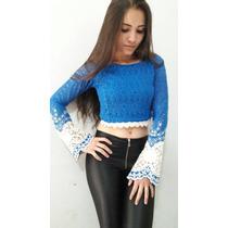 Blusinha Top Cropped Mini Blusa Renda Com Gripper