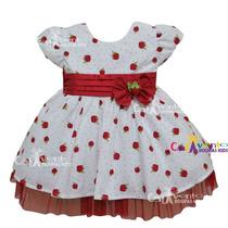 Vestido De Festa Infantil Bebê Moranguinho Baby Com Faixa