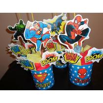 Centros De Mesa Superheroes Personalizados Cotillón