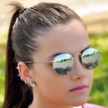 Óculos Feminino Masculino De Sol Redondo Espelhado Unissex