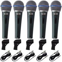 Kit 5 Microfones Profissionais Mxt Bt58 Case+cachimbos+cabos