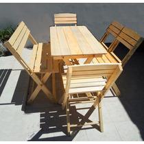 Set Plegable Mesa Con Banca Y 4 Sillas. Madera