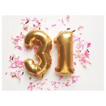 2 Balão Metalizado Número 40cm Aniversário Decoração Festa