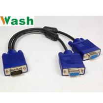 Cable Vga P/conectar 2 Monitor, (1 Macho A 2 Hembra), Wash