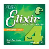 Encordoamento Elixir Nanoweb 14087 Contrabaixo 4 Cordas 0.45
