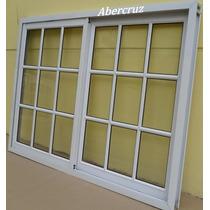 Ventana Aluminio Blanco Vidrio Repartido Con Vidrio 150x110