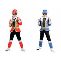 Fantasia Power Rangers Vermelho E Azul Premium Kit C/2