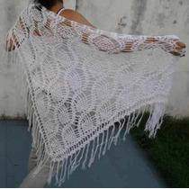 Chal Chalina Con Brillos Tejido Al Crochet Hilo Verano Madre