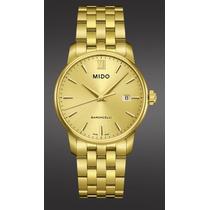 Relógio Masculino Mido Dourado Slim 18 Microns De Ouro
