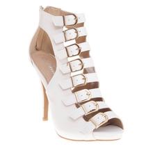 Zapatilla Botín Sandalia Blanca Correa Fashion Elegante Bota