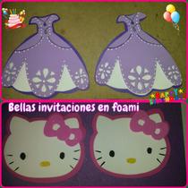 Invitaciones Foami P/cumpleaños Sencillas X 10und