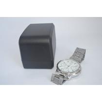Relógio Barato Masculino Prata Visor Branco Lindo B34