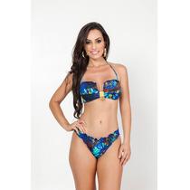 Biquini Fio Dental Ripple Sexy Azul Moda Praia Verão