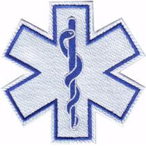 Estrella De La Vida Blanco Parche Bordado Rescate Paramedico
