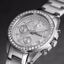 Reloj Fossil Mujer Es2681 Acero Cronógrafo Original En Caja